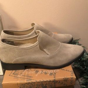 Free People taupe suede Brady slip on loafer 39.5